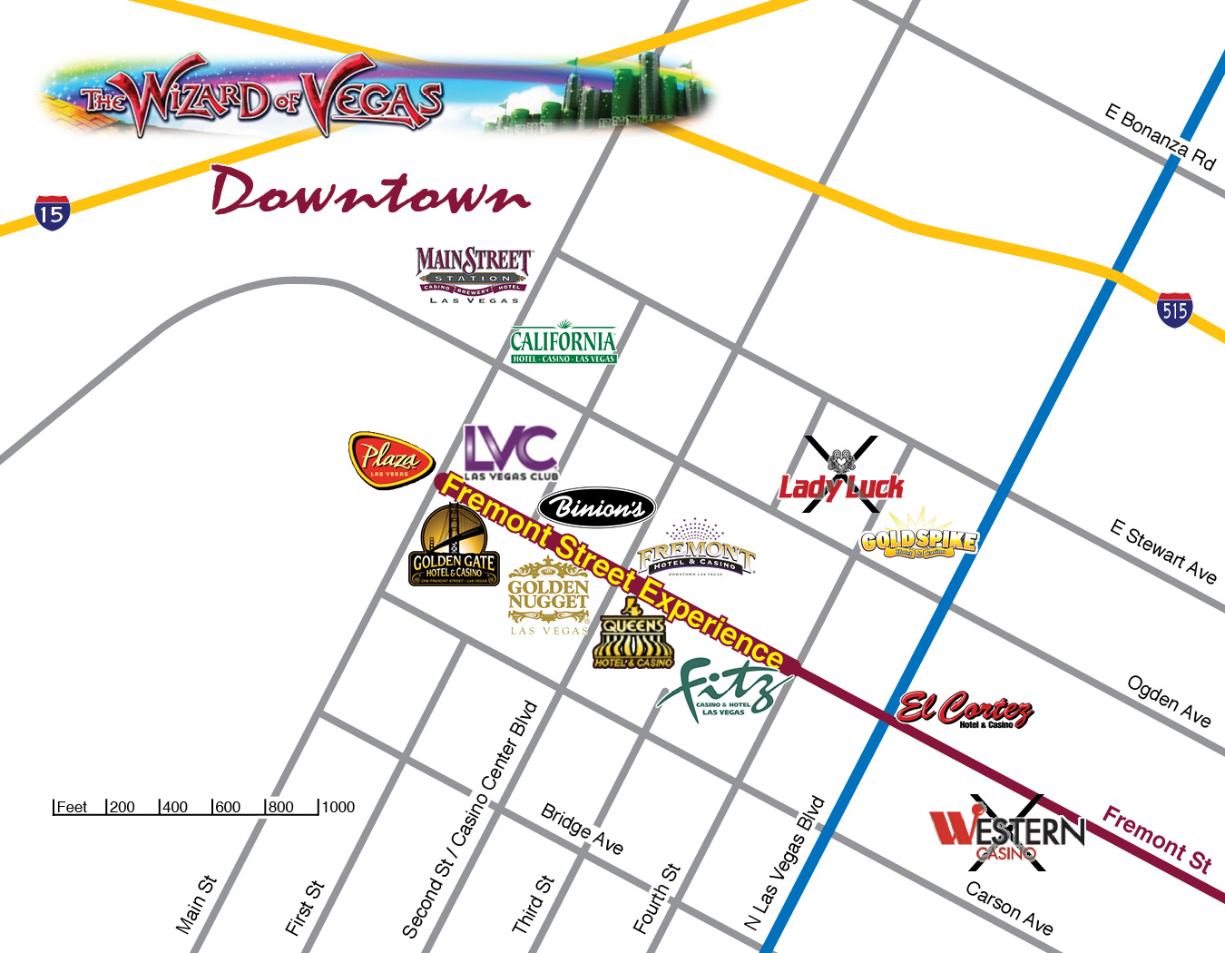 Downtown Project Map Las Vegas Eclipse Theaters Updated