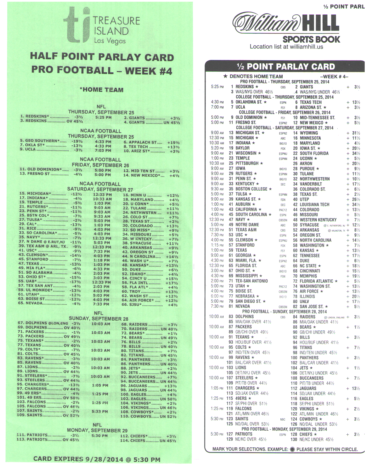 Half Point Parlay Cards - Sports Betting - Gambling - Page