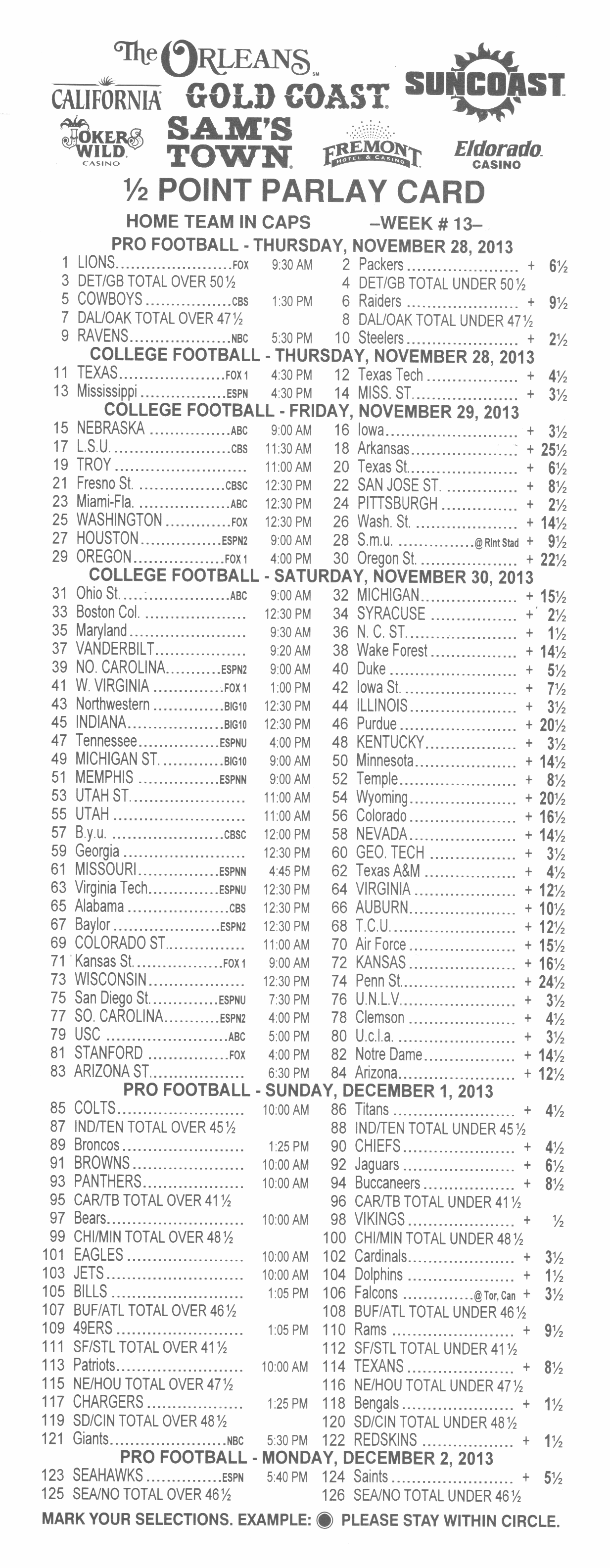 vegas odds on 3 team parlay football bet